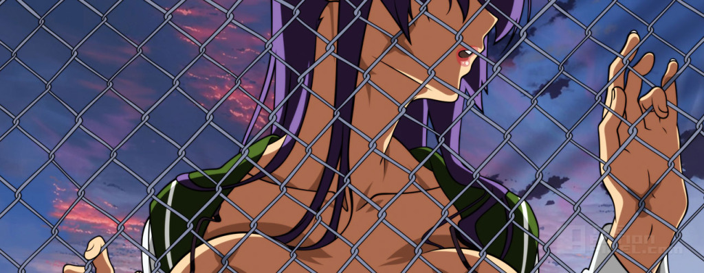 high school of dead: Saeko doing her fence thing @ the action pixel