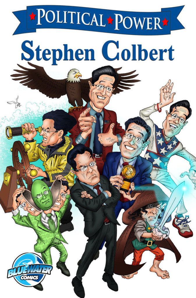 Political Power: Stephen Colbert cover art.  THE ACTION PIXEL @theactionpixel