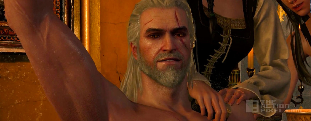 geralt Bathed like a Boss.  The witcher 3: wild hunt Gameplay. Entertainment On TAP. the action pixel. @theactionpixel