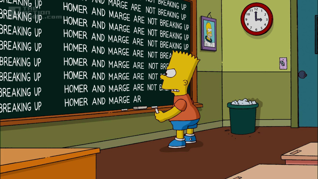 bart chalkboard gag: Homer and Marge are not breaking up. The Simpsons. FOX. entertainment on tap. the action pixel. @theactionpixel