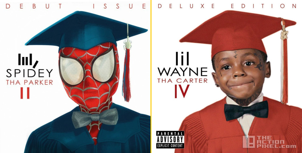 Spidey #1. Based on Lil Wayne's Tha Carter IV. Art by Gyumah Gariba the action pixel. @theactionpixel