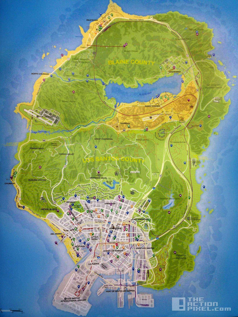 grand theft auto v. rockstar. map. the action pixel. @theactionpixel