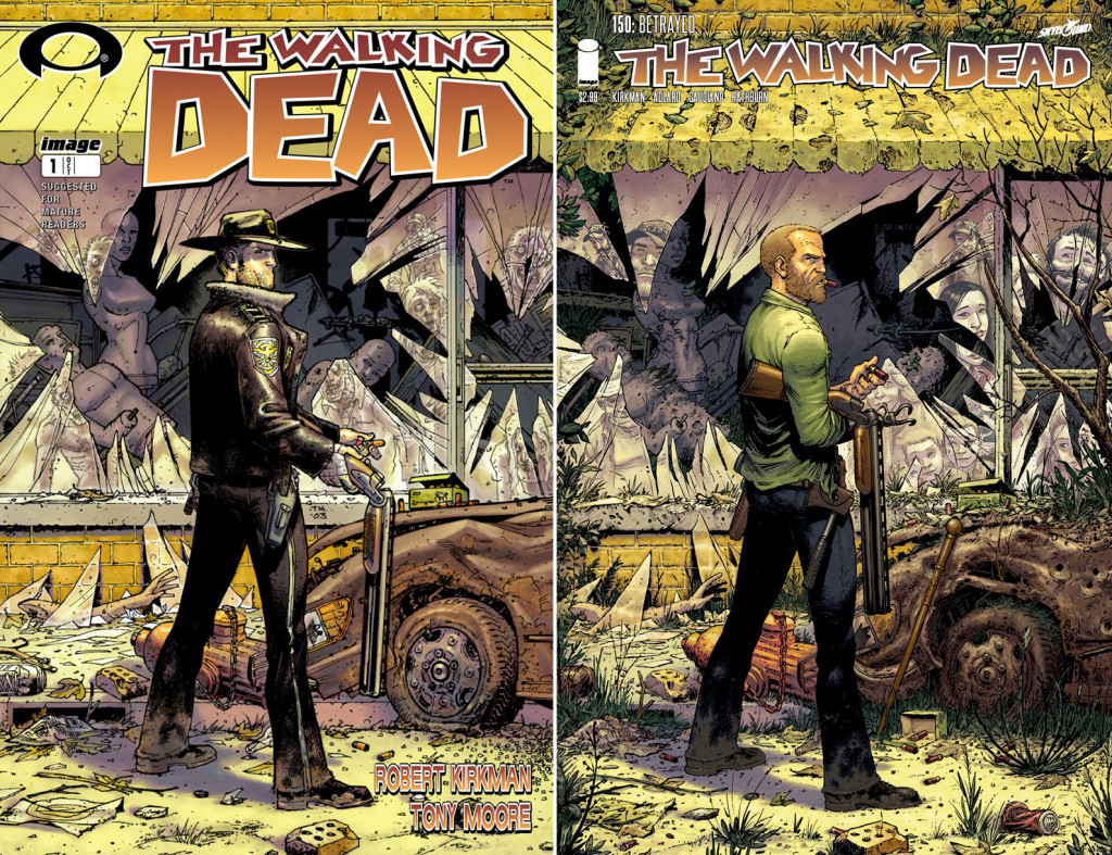 The walking dead 150 and the walking dead 1. tony moore, skybound. image comics. the action pixel. @theactionpixel
