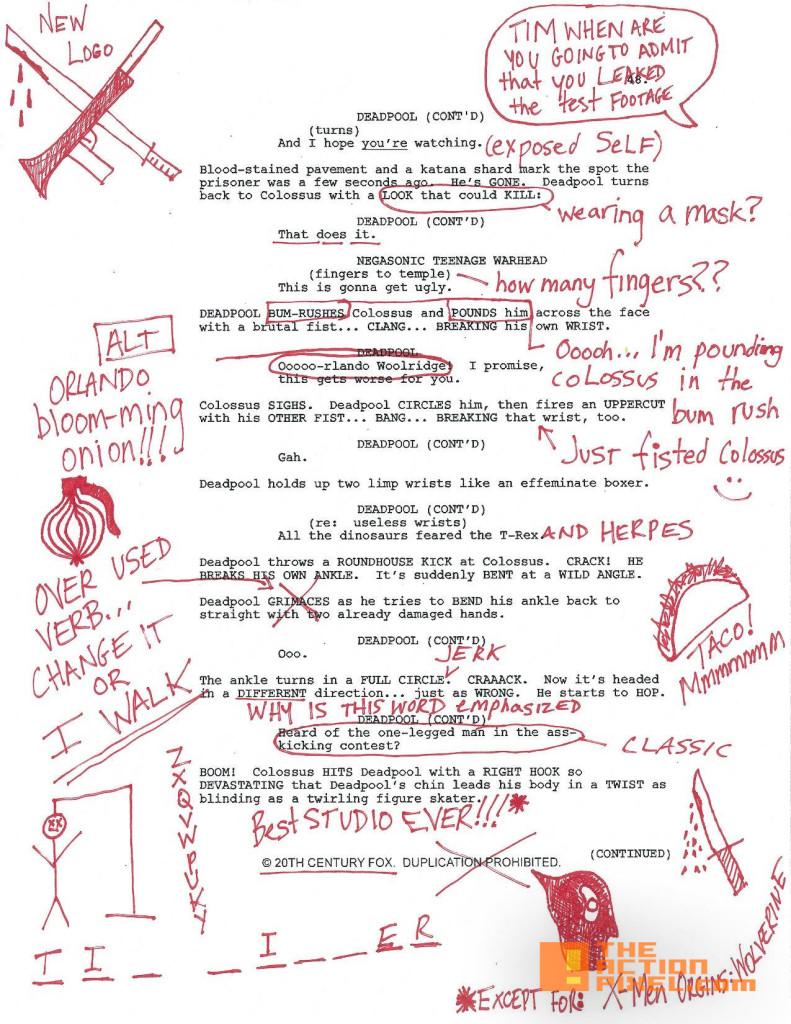 deadpool script. the action pixel. 20th century fox. marvel. the action pixel. @theactionpixel