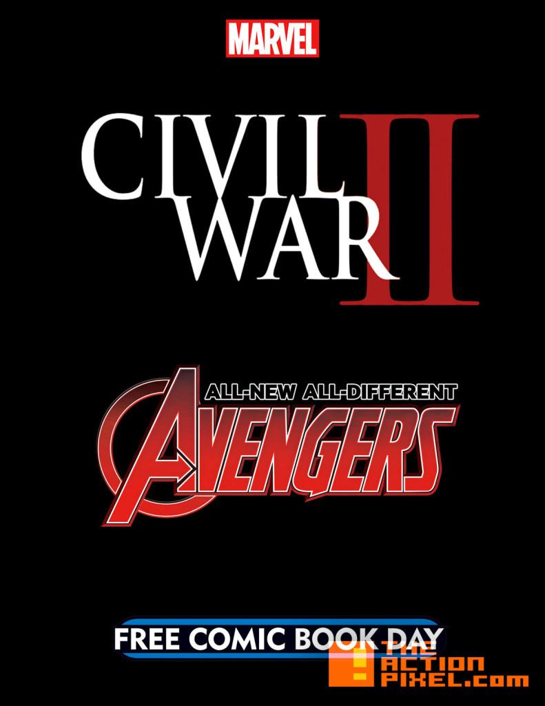 fcbd. marvel. free comic book day. all-new all-different avengers. civil war II.