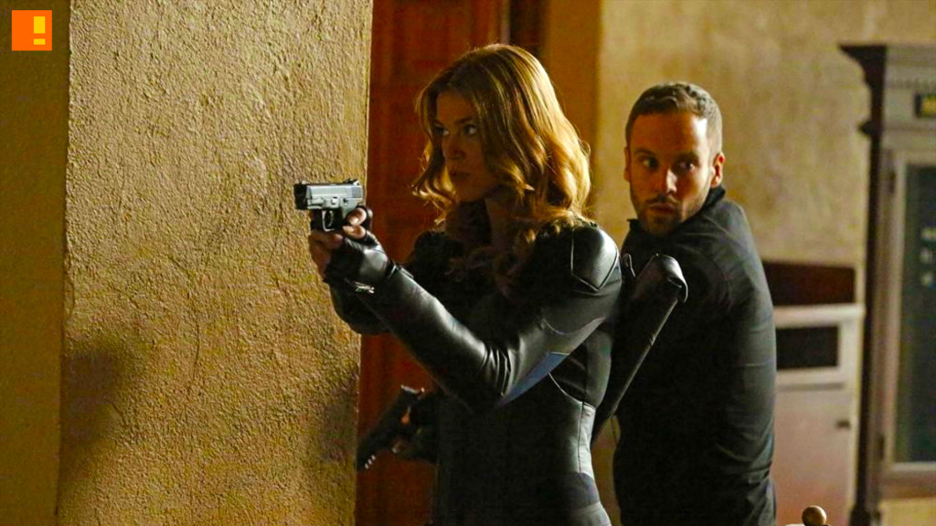 Adrianne Palicki's Bobbi Morse (also known as Mockingbird) and Nick Blood's Lance Hunter. Agents of SHIELD. the action pixel. @theactionpixel. marvel. abc.
