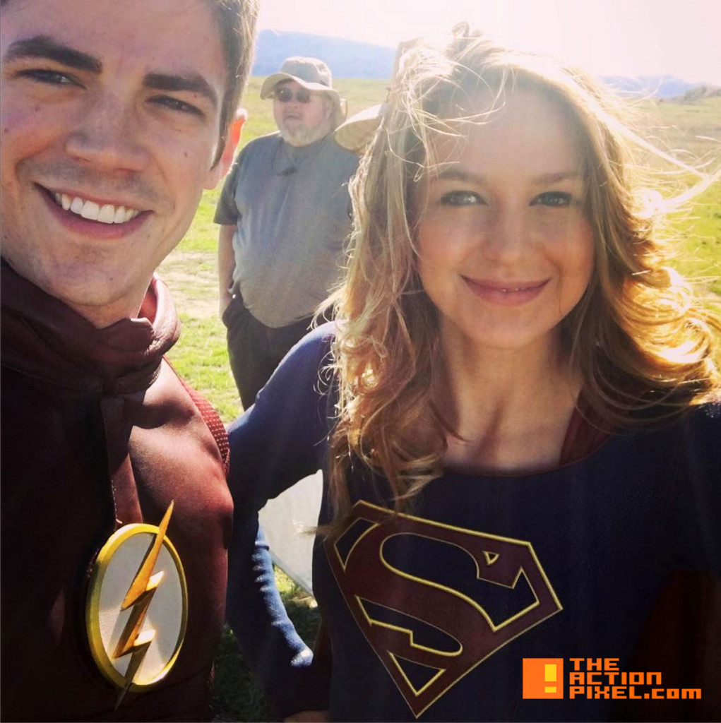 melissa benoist. Grant gustin. supergirl. the flash. cbs. the cw network. the action pixel. @theactionpixel. dc comics