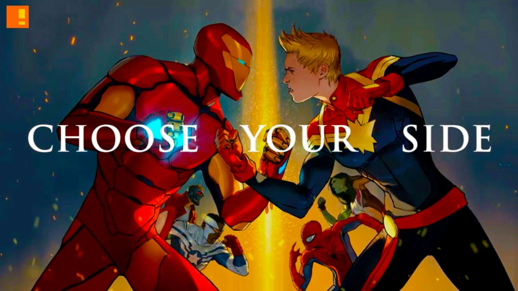 iron man, marvel,choose your side, captain marvel, ms marvel, tony stark, spider-man, captain america,civil war 2, civil war II,marvel comics, trailer