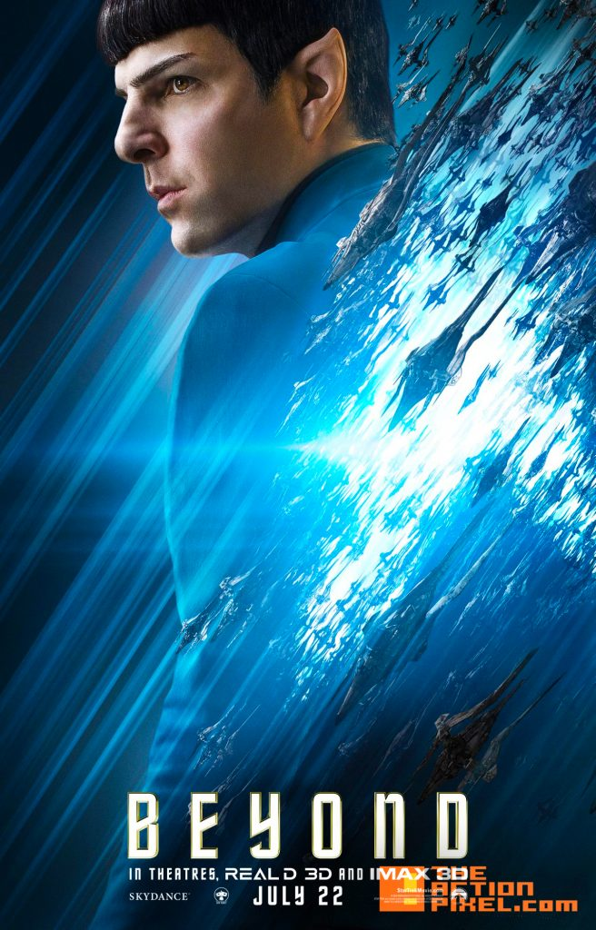 star trek, star trek beyond, beyond, enterprise, spock, scottie, vulcan, posters, character posters, the action pixel, entertainment on tap,