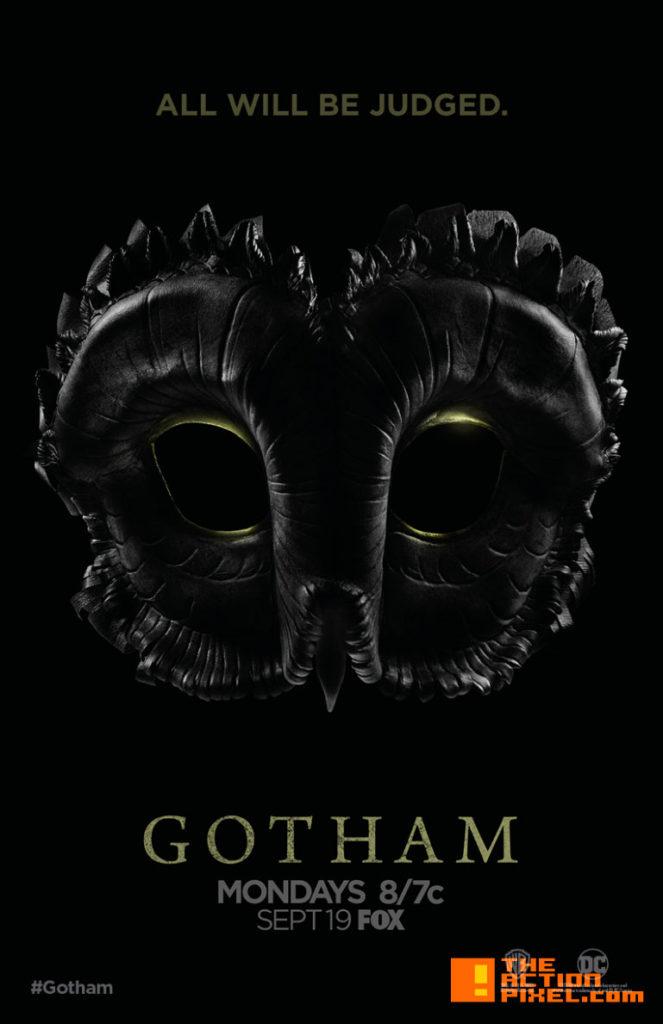 court of owls,poster , gotham, the action pixel, season 3,@theactionpixel, entertainment on tap, owl mask,
