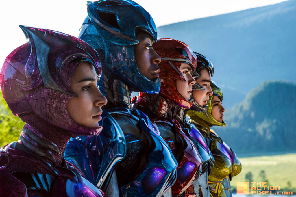 Becky G ,Trini, yellow ranger, rj cyler, billy, blue ranger, naomi scott, kimberly, pink ranger, ludi lin, zack, black ranger, dacre montgomery, jason, red ranger, elizabeth banks, rita repulsa, power rangers, the action pixel, saban, power rangers. saban, logo, movie, entertainment on tap, the action pixel, @theactionpixel, bryan cranston, zordon,power rangers, saban,
