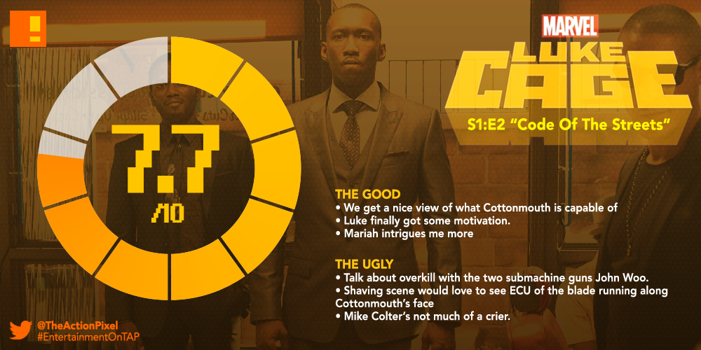 luke cage, rating, season 1,episode 2, code of the streets, the action pixel, entertainment on tap, review, tap reviews,