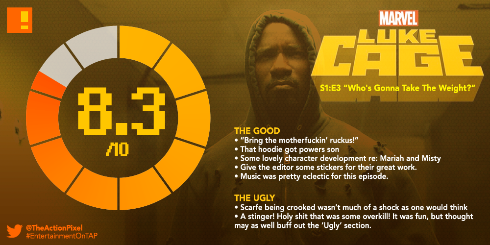luke cage, S1 e3, REVIEW, TAP REVIEWS, who's gonna carry the weight, the action pixel, entertainment on tap,