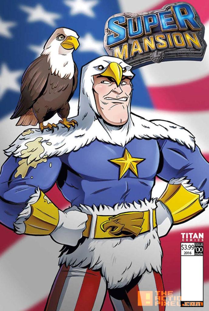 COVER F, MATT HEBB,  supermansion, crackle, the action pixel, entertainment on tap, titan comics, preview,