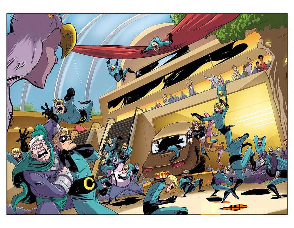 supermansion #1, panel,supermansion, crackle, the action pixel, entertainment on tap, titan comics, preview,