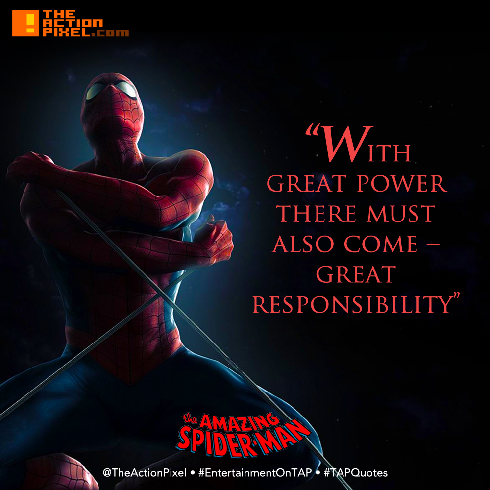 TAPQuotes, tap quotes, quotations, spider-man, spiderman, voltaire, marvel, with great power there must also come – great responsibility, the amazing spider-man,  #tapquotes