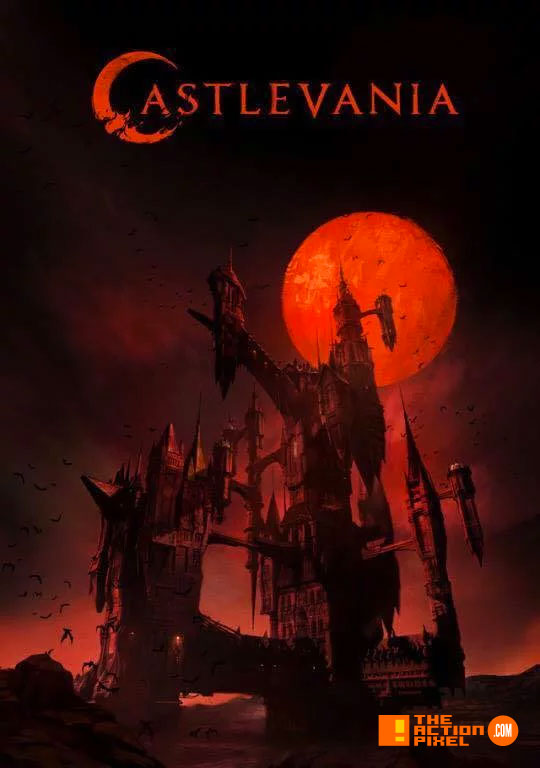 castlevania,  poster, banner, netflix, moon, blood moon, vampire, dracula, alucard, the action pixel, entertainment on tap