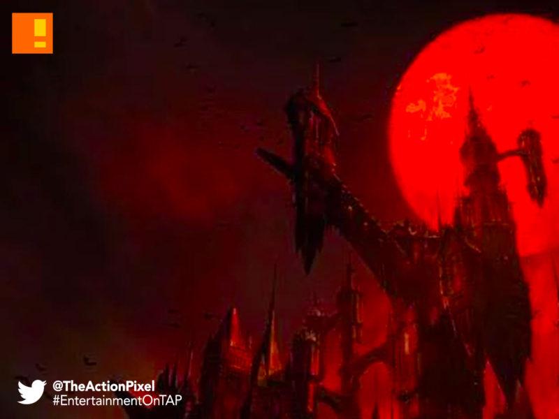 castlevania, poster, banner, netflix, moon, blood moon, vampire, dracula, alucard, the action pixel, entertainment on tap