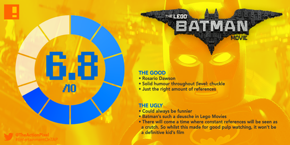 rating, batman, tap reviews, the action pixel, entertainment on tap, tap reviews, dc comics, warner animation group, warner bros. animation, warner bros. entertainment , warner bros., warner bros, joker, batman, the lego batman movie, lego batman, rosario dawson, batgirl, will arnett, robin, zach galifianakis, alfred, batgirl,