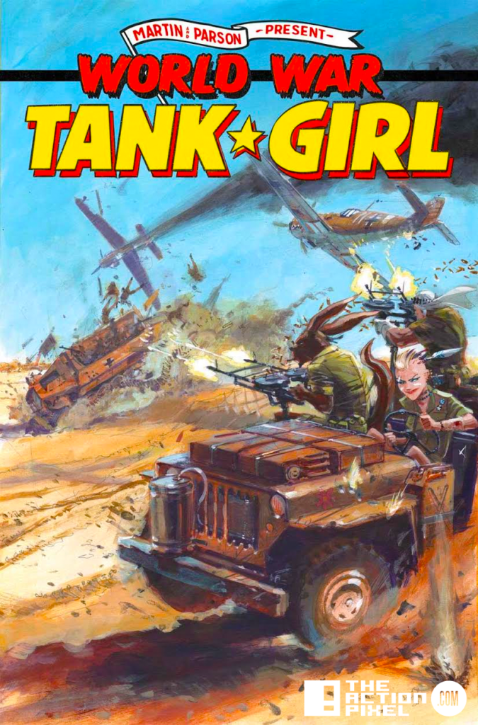 world war tank girl, cover b, Keith Burns, the action pixel, entertainment on tap,titan comics,