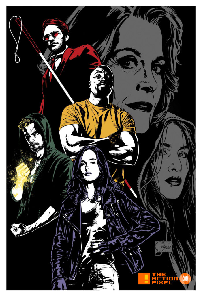 defenders, the defenders, marvel, marvel comics, netflix, marvel entertainment,poster,joe quesada, the action pixel, entertainment on tap, daredevil, jessica jones, iron fist, luke cage, mike colter, charlie cox, matt murdock, finn jones, danny rand, Sigourney Weaver