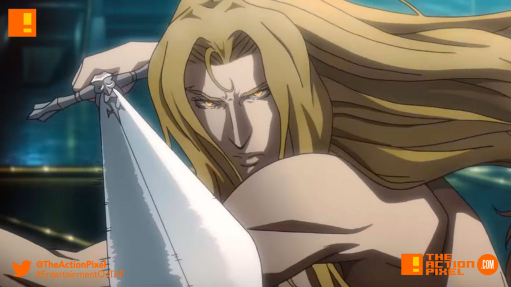 castlevania,  poster, banner, netflix, moon, blood moon, vampire, dracula, alucard, the action pixel, entertainment on tap, teaser, trailer, netflix