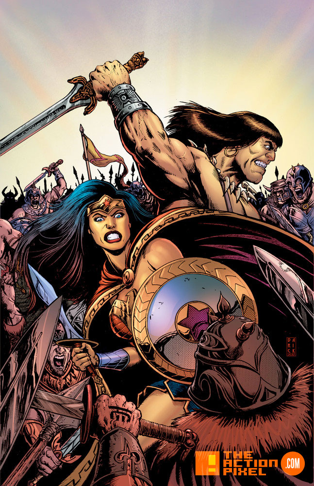 conan, wonder woman, dark horse comics, dark horse, dc comics, dc entertainment, diana, themyscara, the barbarian,conan the barbarian, the action pixel, crossover, entertainment on tap