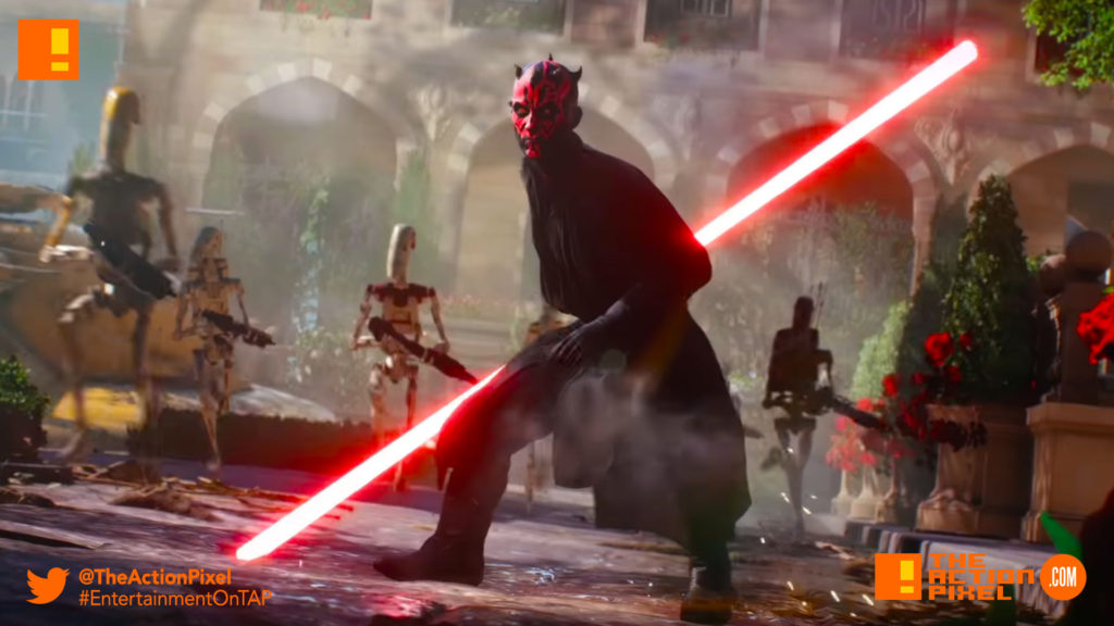 darth maul, battlefront II, star wars battlefront II,star wars battlefront,star wars, ea , electronic arts, gameplay trailer,trailer, ea, dice, storm troopers,battle droids,droids, lightsaber, the force, the dark side, the action pixel,entertainment on tap