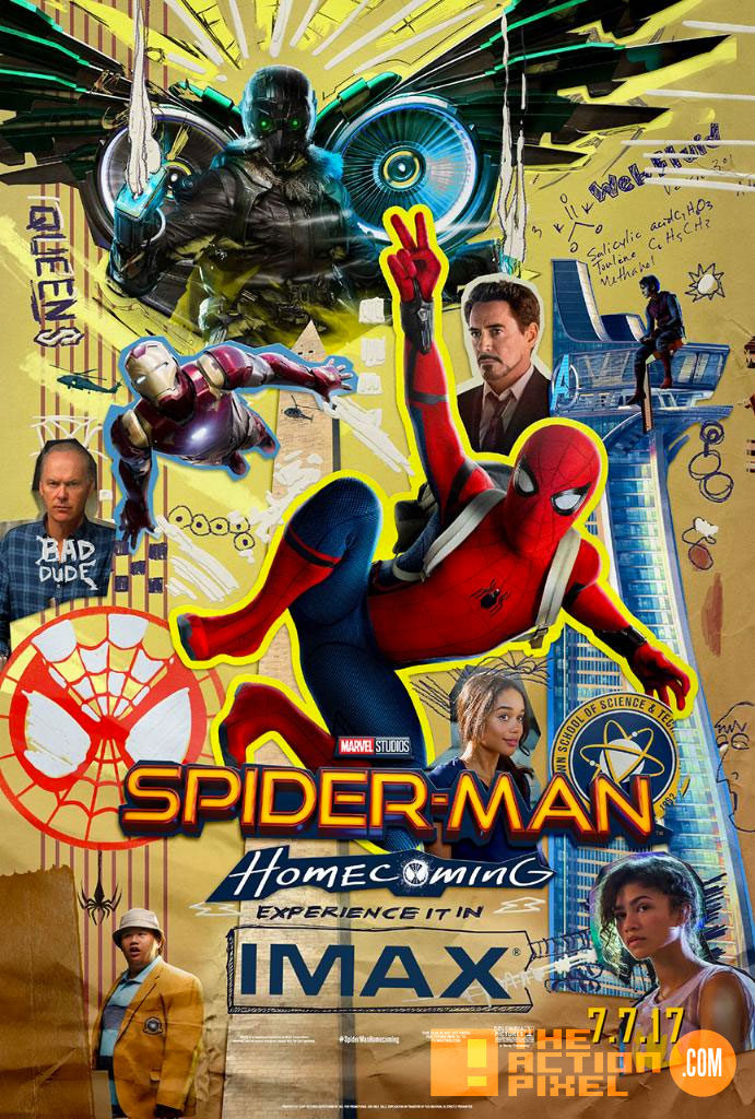 spider-man, spider-man homecoming, the action pixel, marvel,sony, sony pictures, tom holland, iron man, peter parker, vulture, tony stark, entertainment on tap, poster, iron man, imax, spiderman,poster,