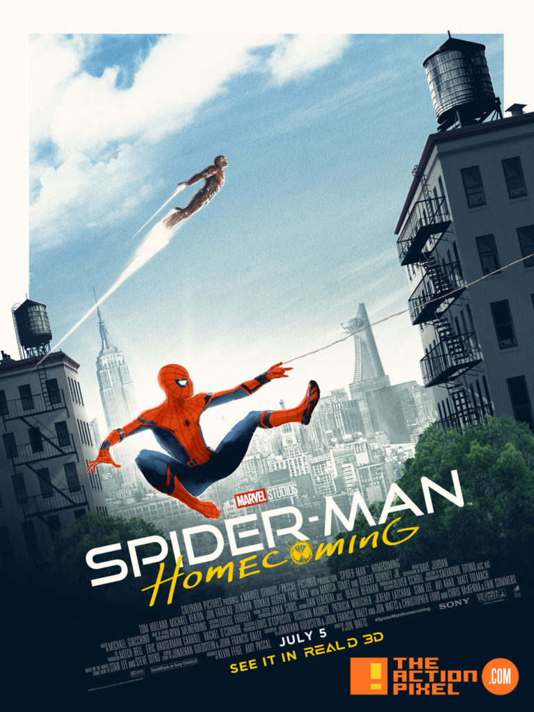spider-man, spider-man homecoming, the action pixel, marvel,sony, sony pictures, tom holland, iron man, peter parker, vulture, tony stark, entertainment on tap, poster, iron man
