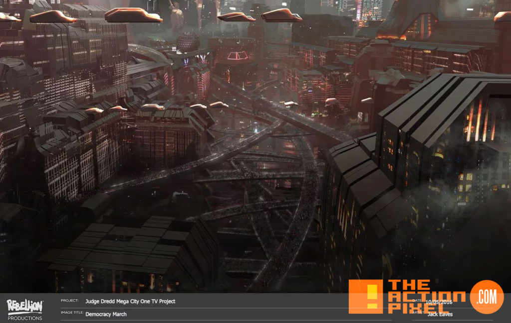 mega city one, Judge dredd, judge dredd: mega city one, rebellion, 2000 AD, entertainment on tap, the action pixel,  IM Global,rebellion, concept art