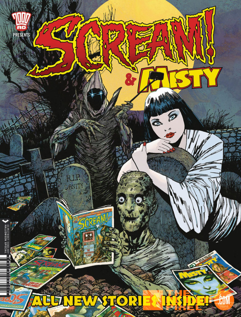 scream! and misty, scream! & misty, 2000 AD, rebellion, entertainment on tap, the action pixel, cover art, halloween, hallow's eve,