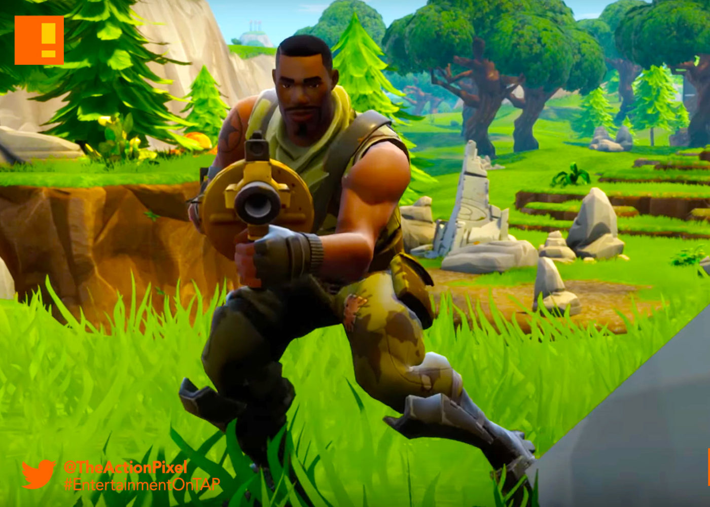 Fortnite Battle Royale ,Gameplay Trailer,the action pixel, entertainment on tap,