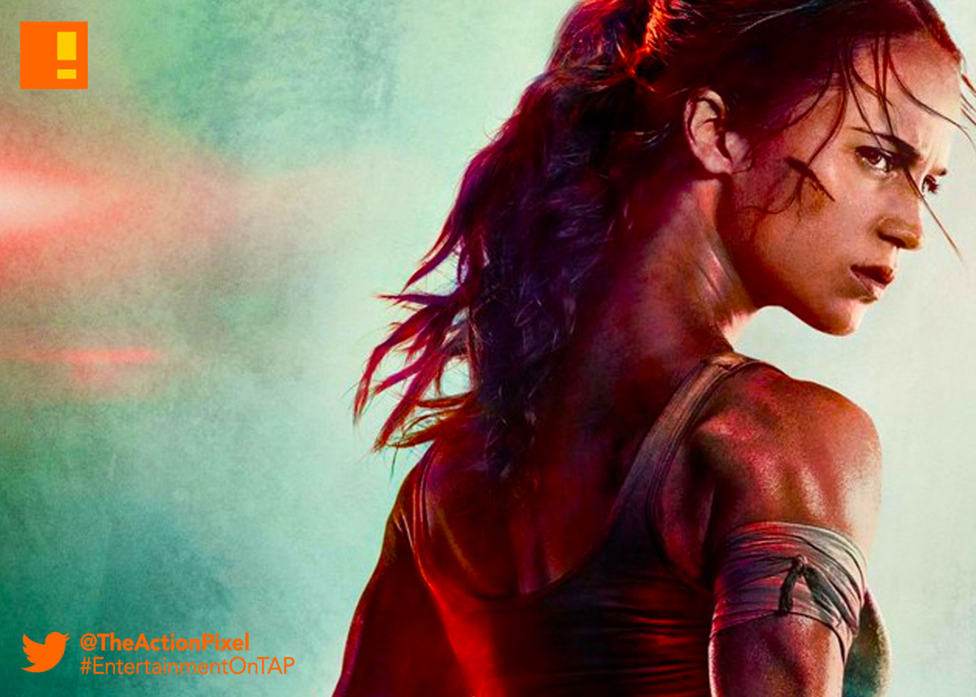 TOMB RAIDER, ALICIA vikander, lara croft, first look, entertainment on tap, the action pixel,