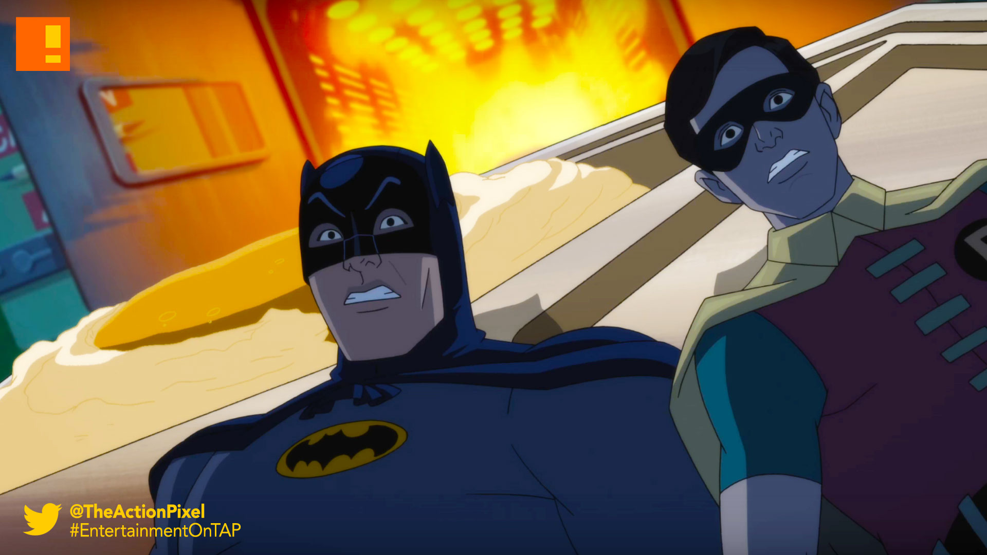 batman: return of the caped crusaders, caped crusaders, batman, dc comics, warner bros. wb animation, animation, robin, adam west, joker, penguin, the riddler, dc comics, dc, gotham, nycc, new york comic con, robin, trailer, wb animation