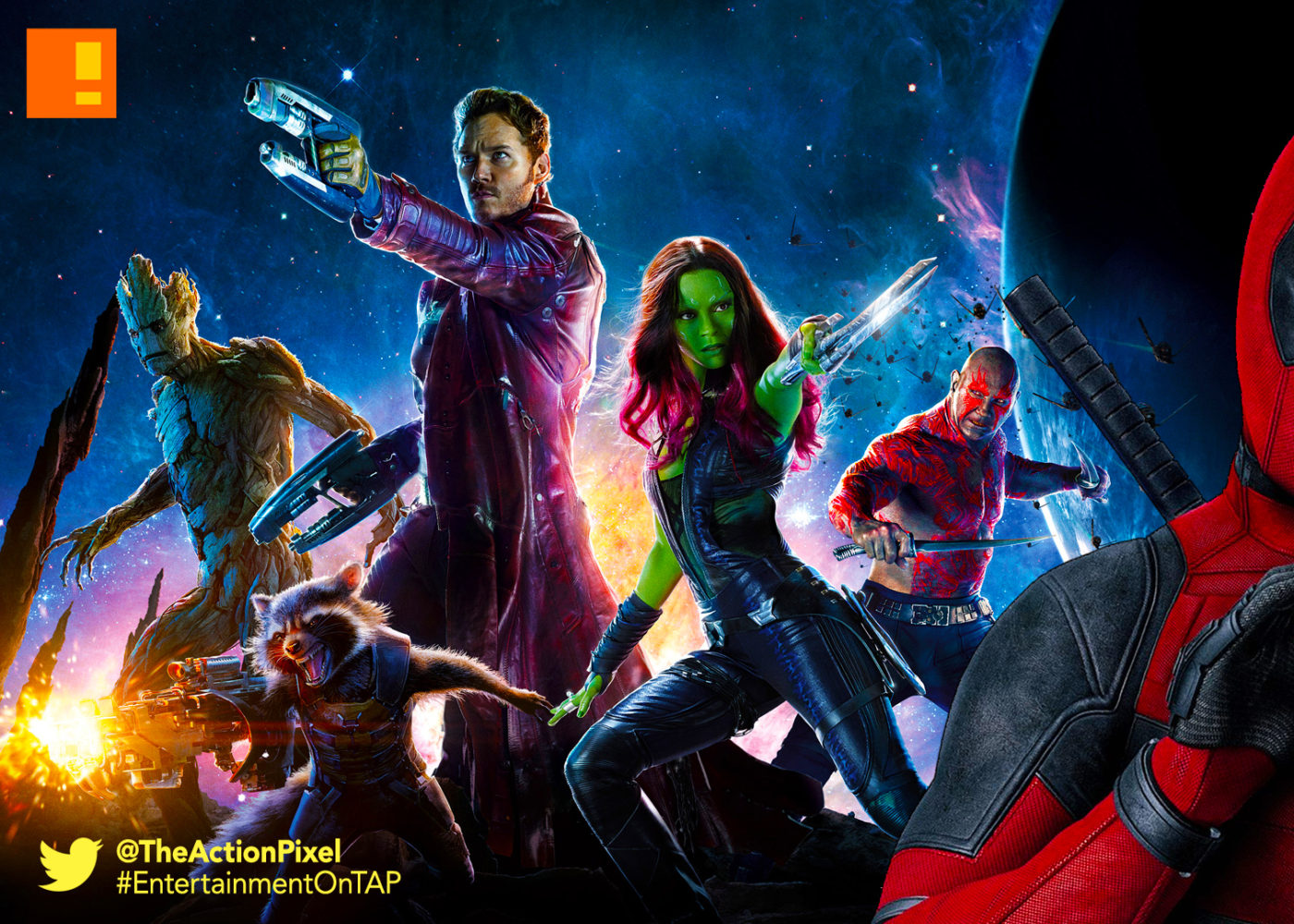 deadpool,gotg,marvel,fox, guardians, guardians of the galaxy, guardians of the galaxy vol 2, guardians of the galaxy vol. 2, marvel studios ,marvel comics, 20th century fox, the action pixel, entertainment on tap