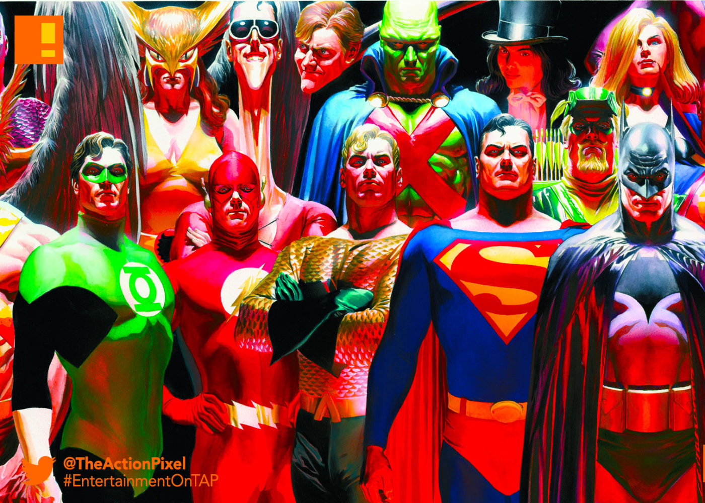 dc comics, batman, superman, flash, aquaman, martian, green arrow, plastic man, wonder woman