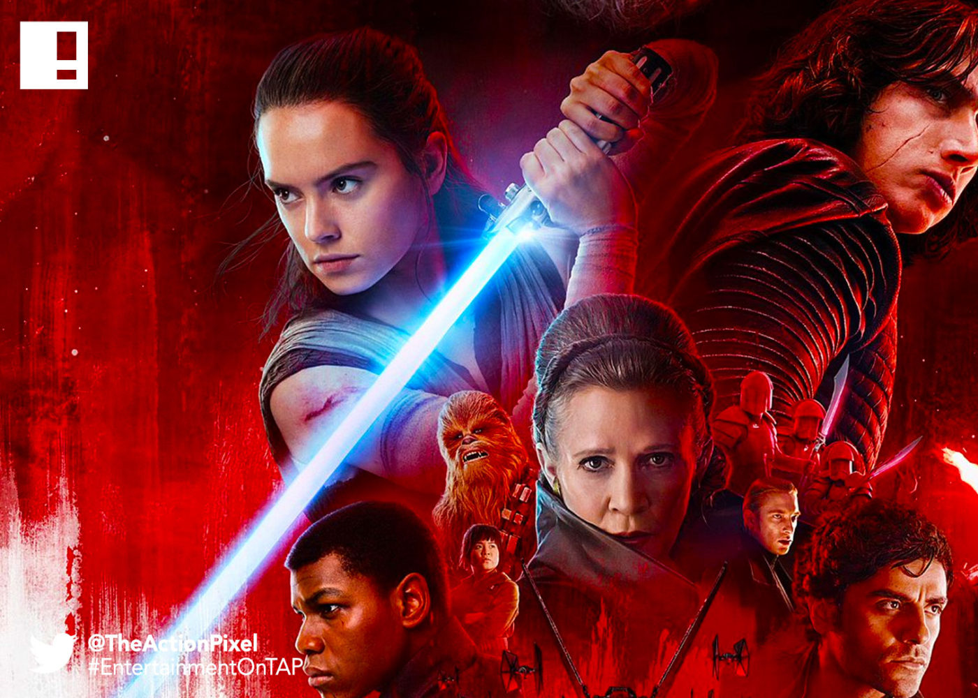 the last jedi, star wars, star wars: the last jedi, mark hamill, luke skywalker, princess leia,carrie fisher, rey,the action pixel, entertainment on tap,kylo ren, photographs,image,poster