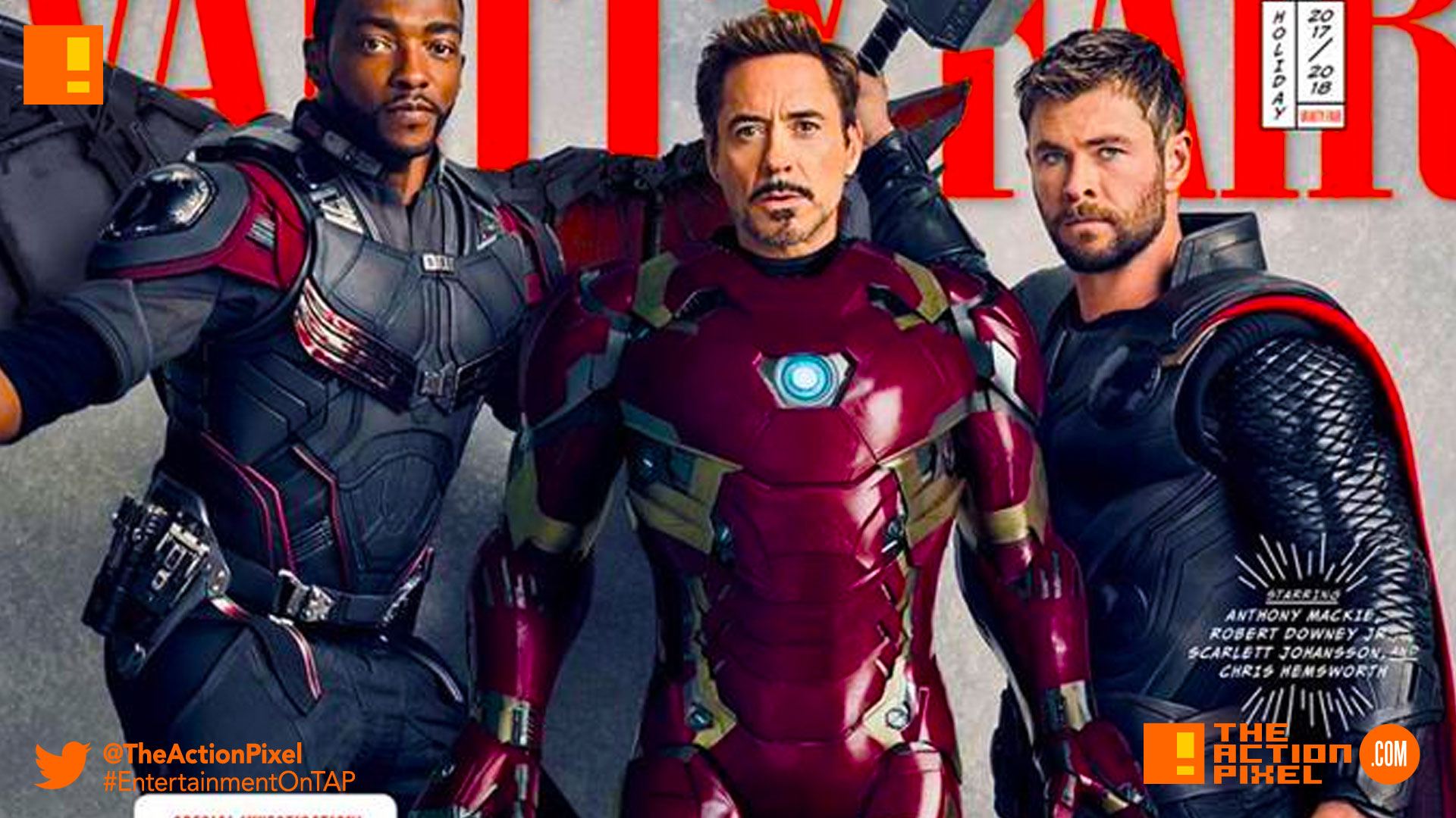VANITY fair, AVENGERS, avengers: infinity war, infinity war, iron man, thor, iron-man, falcon, peter, guardians of the galaxy, doctor strange, black panther, spider man, spider-man, captain america, ant-man, wasp, hawkeye, war machine,