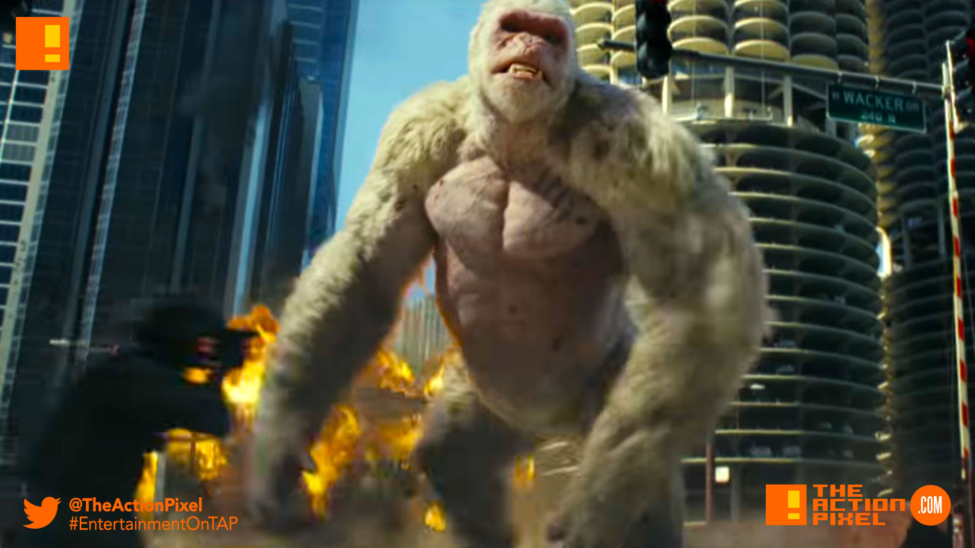 """rampage, poster, 80s,arcade games, video game, big meets bigger, the rock, dwayne johnson, dwayne """"the rock"""" johnson, poster, trailer, entertainment on tap, the action pixel, trailer,"""