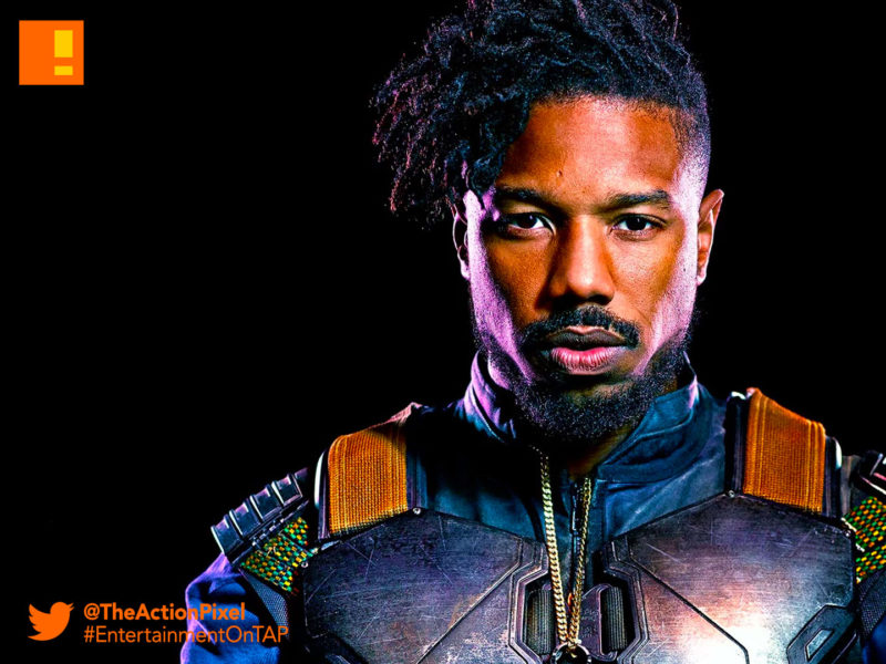 killmonger,w'kabi, michael b jordan, black panther, black panther movie, marvel studios, still, the action pixel, entertainment on tap,