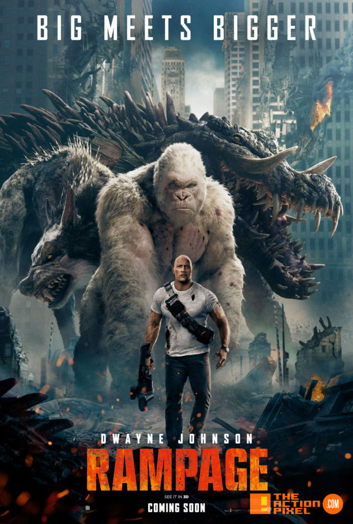 "rampage, poster, 80s,arcade games, video game, big meets bigger, the rock, dwayne johnson, dwayne ""the rock"" johnson, poster, trailer, entertainment on tap, the action pixel"