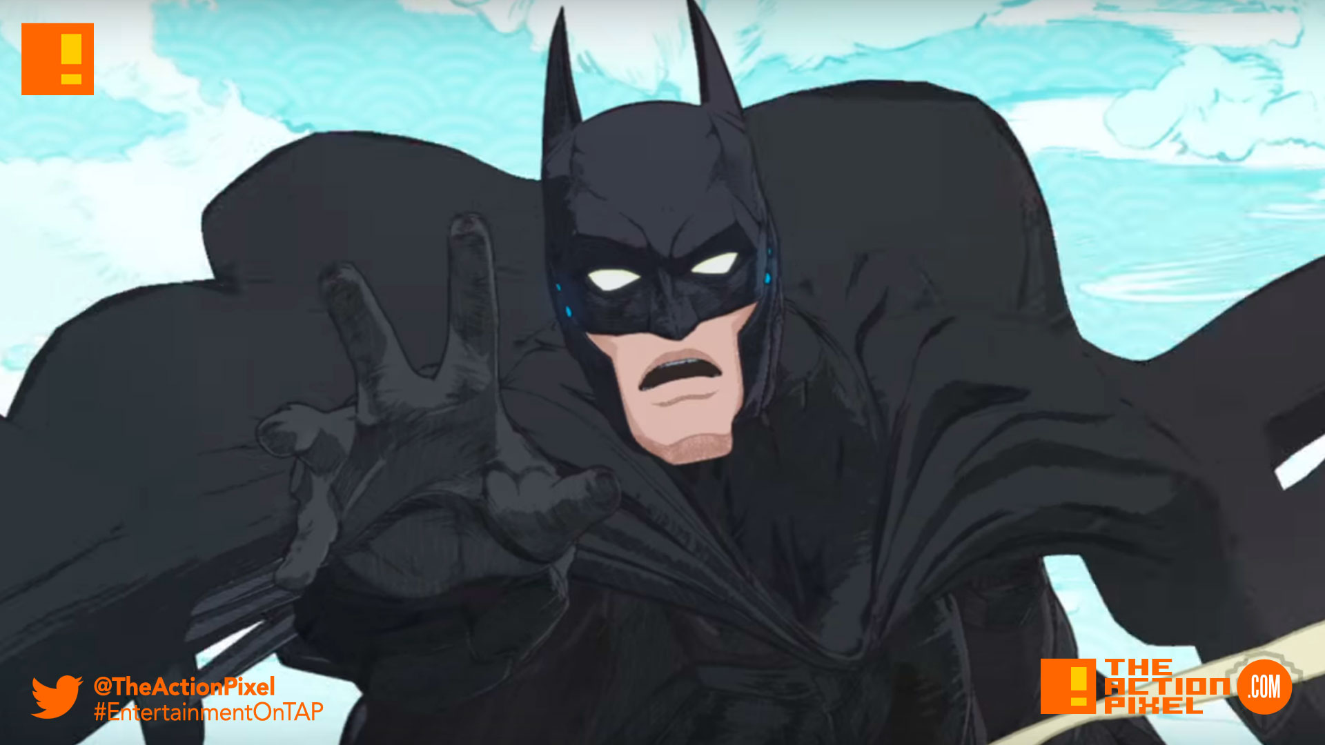 batman,ninja,dc comics, dc entertainment , the action pixel, entertainment on tap,poster, trailer, poster
