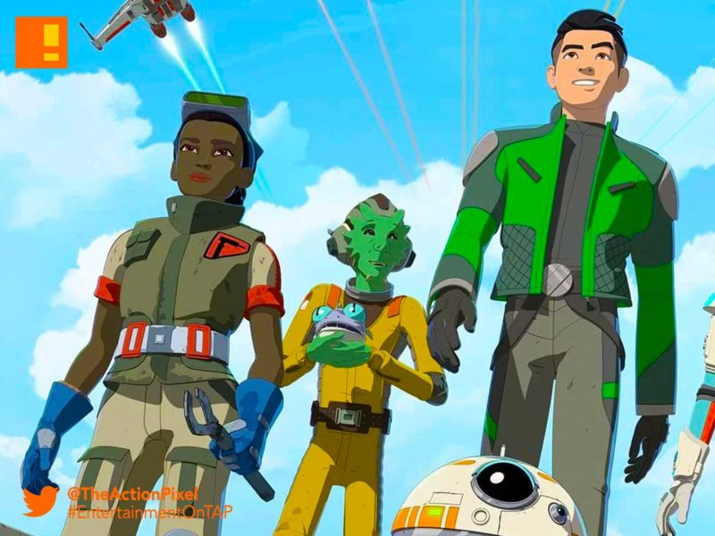 star wars resistance, star wars, the action pixel, disney xd, disney,kaz, bb8,poe, poster,fireball fireball team,