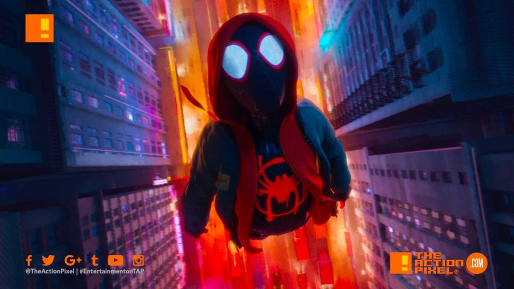 miles morales, spiderman, spider man, spider-man, sony, marvel, marvel comics, animated feature, animation, the action pixel, entertainment on tap,sony animation, marvel,into the spiderverse, spider-man: into the spider-verse,gwen stacey, poster