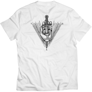 the action pixel, hand, eye, all seeing eye, tattoo, tap tees, hand, dagger , sword, white tee, tshirt, white tshirt, tattoo, motto, style on tap, woodcut,