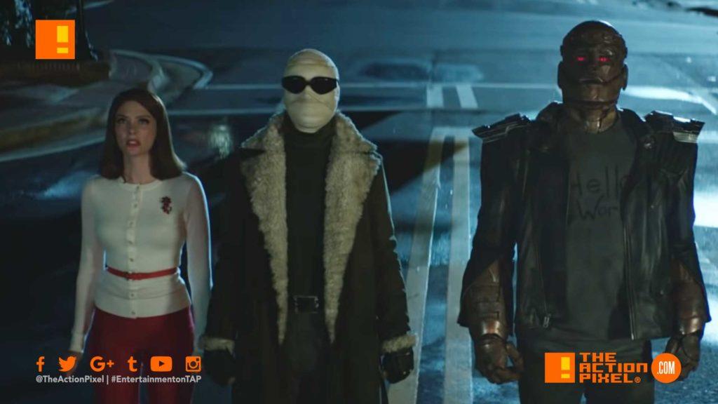 poster, doom patrol,Dr. Niles Caulder, the chief, cyborg,Robotman, Negative Man, Elasti-Girl, crazy jane, the action pixel, entertainment on tap, extended trailer, dc universe,
