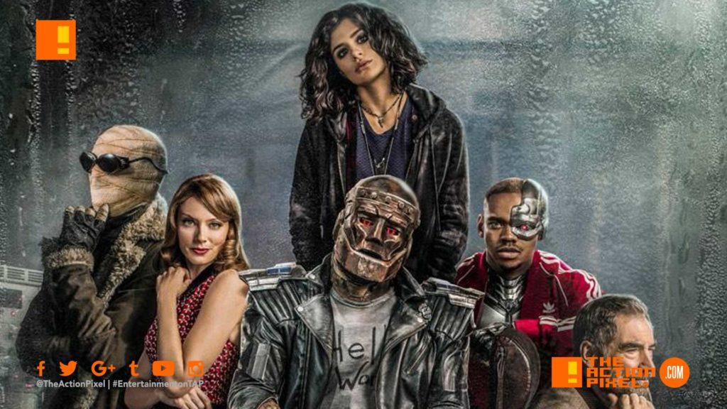 poster, doom patrol,Dr. Niles Caulder, the chief, cyborg,Robotman, Negative Man, Elasti-Girl, crazy jane, the action pixel, entertainment on tap,