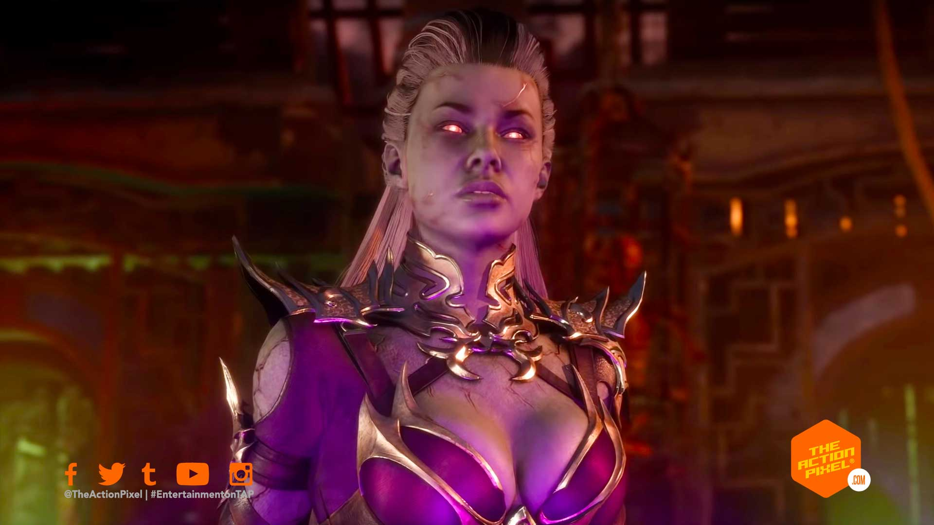 sindel,mortal kombat, mortal kombat 11, kombat pack, sindel gameplay trailer, mk11, netherrealm studios, the action pixel, entertainment on tap,