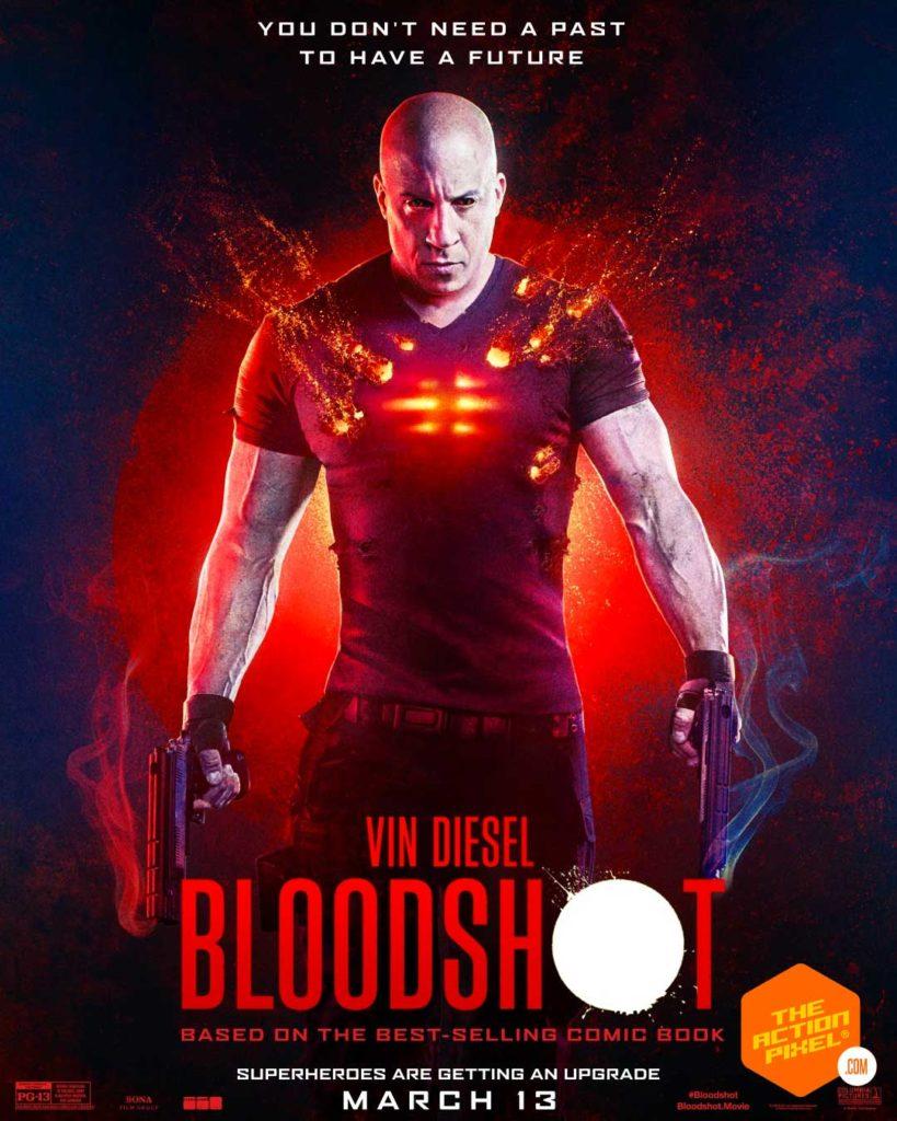 bloodshot, vin diesel, the action pixel, sony pictures, vin diesel bloodshot, bloodshot trailer, vin diesel bloodshot trailer, entertainment on tap, valiant, valiant comics, bloodshot poster
